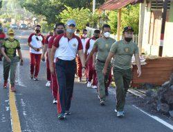Jaga Imunitas Tubuh, Korem 152/Baabullah dan Polda Maluku Utara Jalan Sehat Bersama